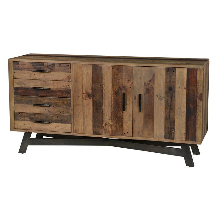 """Tabernash 55"""" Wood Buffet Tables Inside Most Current Lapish 65"""" Wide 4 Drawer Pine Wood Buffet Table In  (View 6 of 20)"""