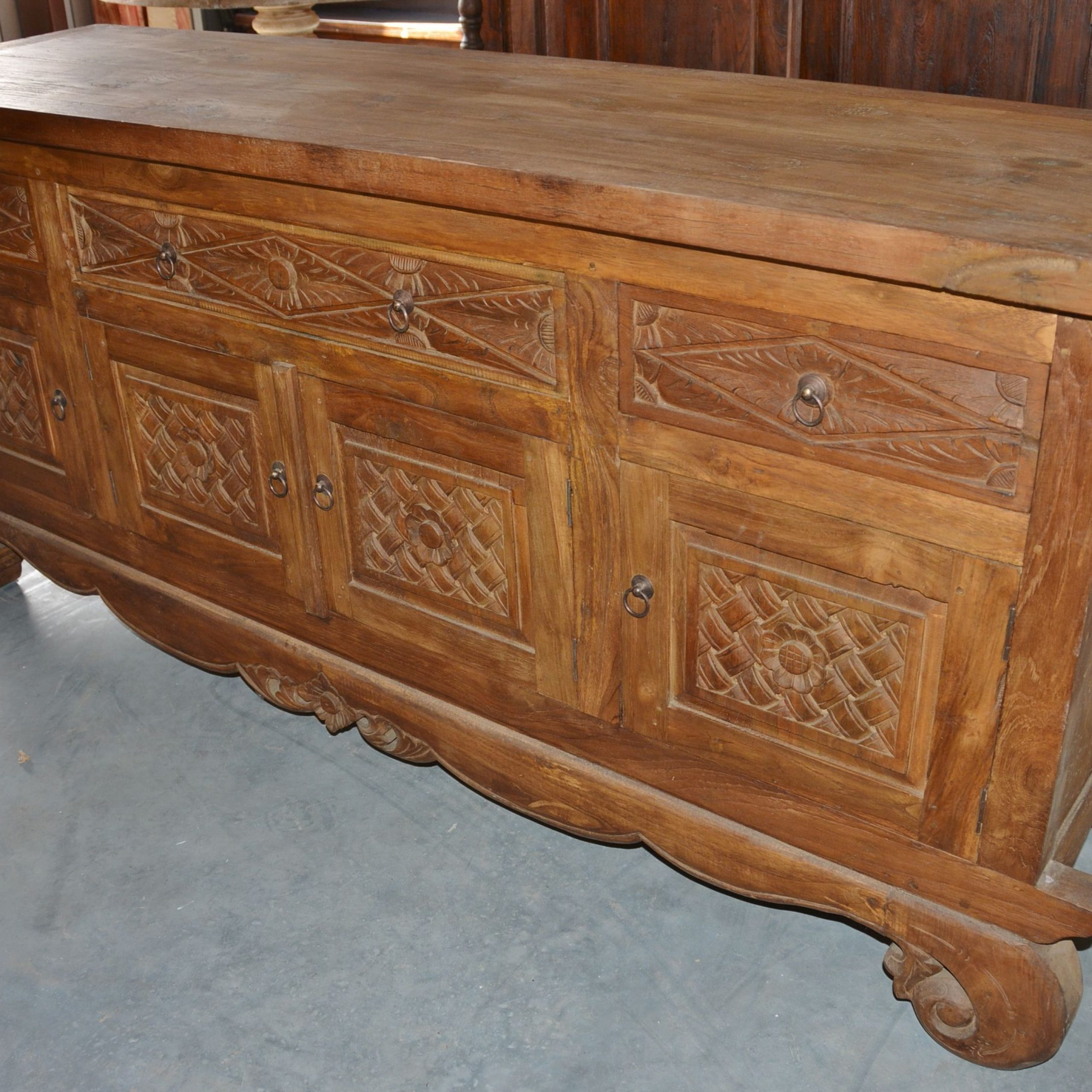 Teak Wood Buffet With Hand Carvings (View 20 of 20)