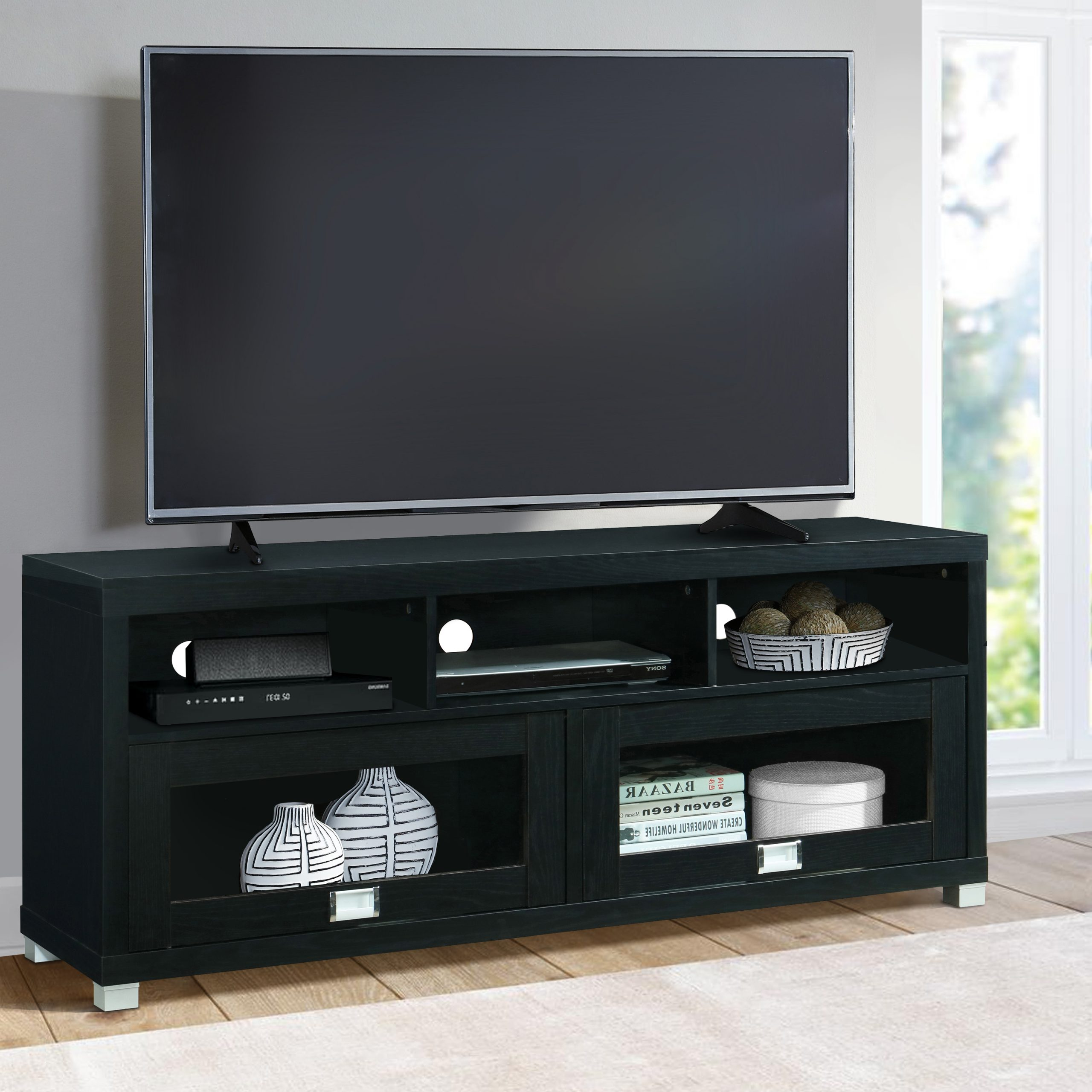 """Techni Mobili 58"""" Durbin Tv Stand For Tvs Up To 75"""",black Regarding Best And Newest Greggs Tv Stands For Tvs Up To 58"""" (View 5 of 20)"""