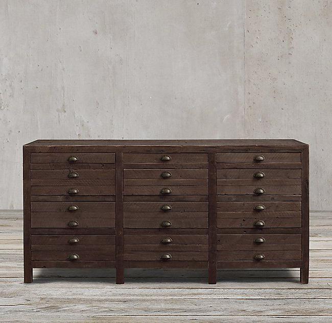 """Thame 70"""" Wide 4 Drawers Pine Wood Sideboards Regarding Popular Printmaker's Sideboard (View 2 of 20)"""