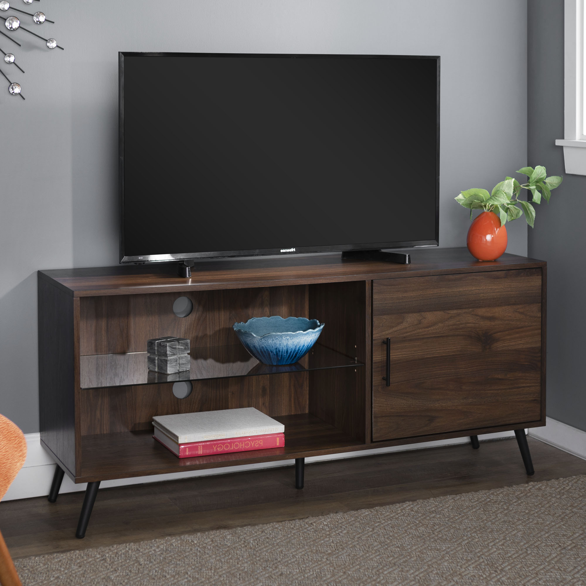"""Thea Dark Walnut Tv Stand For Tvs Up To 58""""bellamy For Fashionable Berene Tv Stands For Tvs Up To 58"""" (View 4 of 20)"""