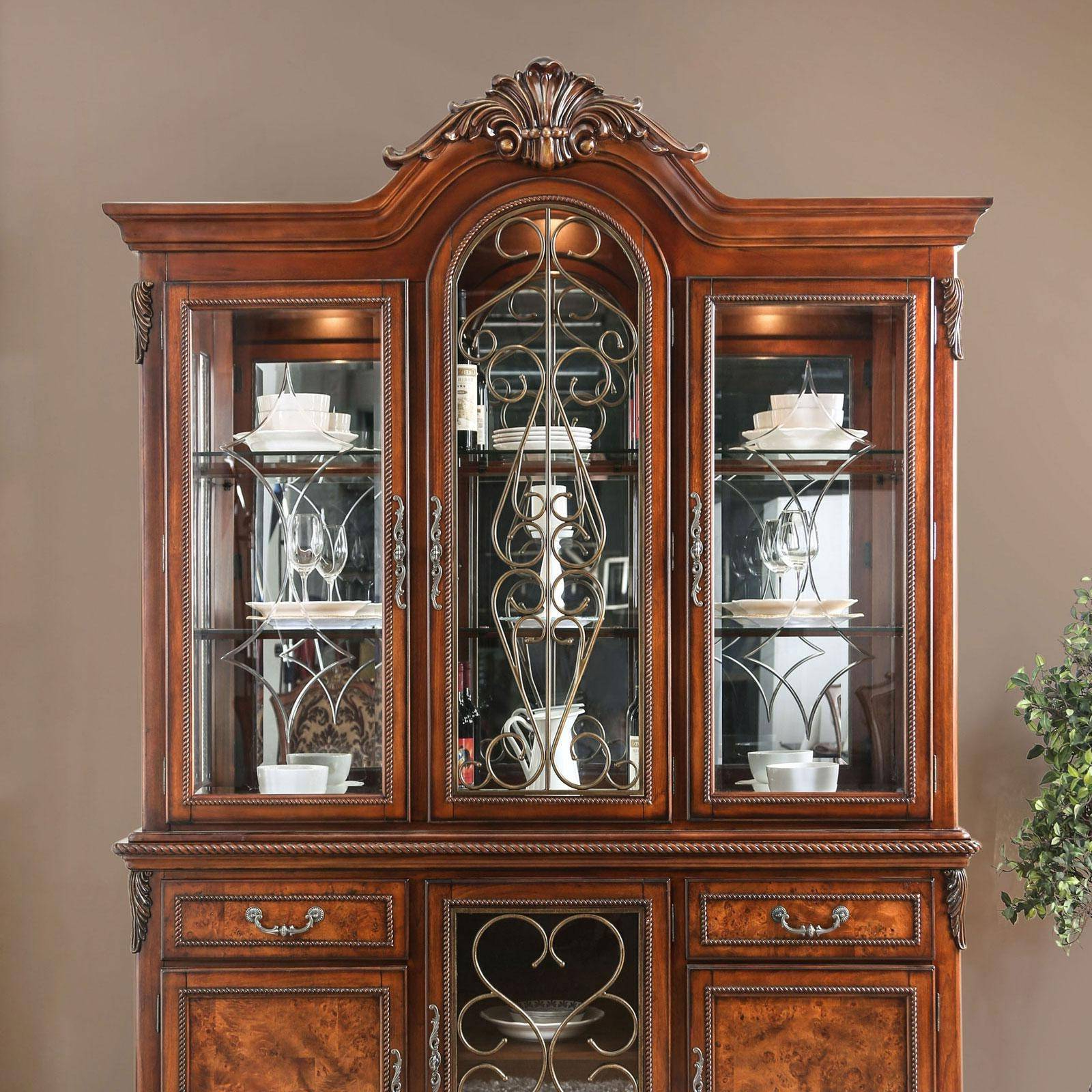 Traditional Wood Hutch Buffet In Brown Luciefurniture Pertaining To Well Known Orner Traditional Wood Sideboards (View 13 of 20)