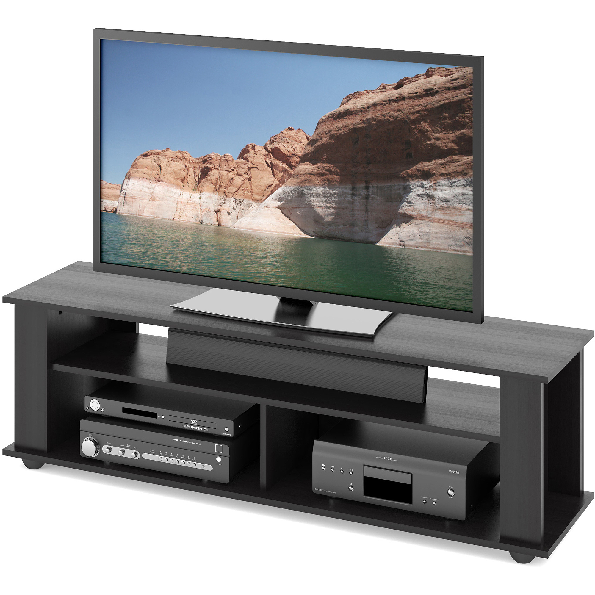 """Trendy Black Tv Stand For Tvs Up To 65 Inch Entertainment Center Pertaining To Shilo Tv Stands For Tvs Up To 65"""" (View 9 of 20)"""