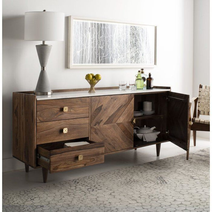 """Trendy Cora Rose 62.9"""" Wide 3 Drawer Acacia Wood Sideboards Within Cora Rose (View 12 of 20)"""