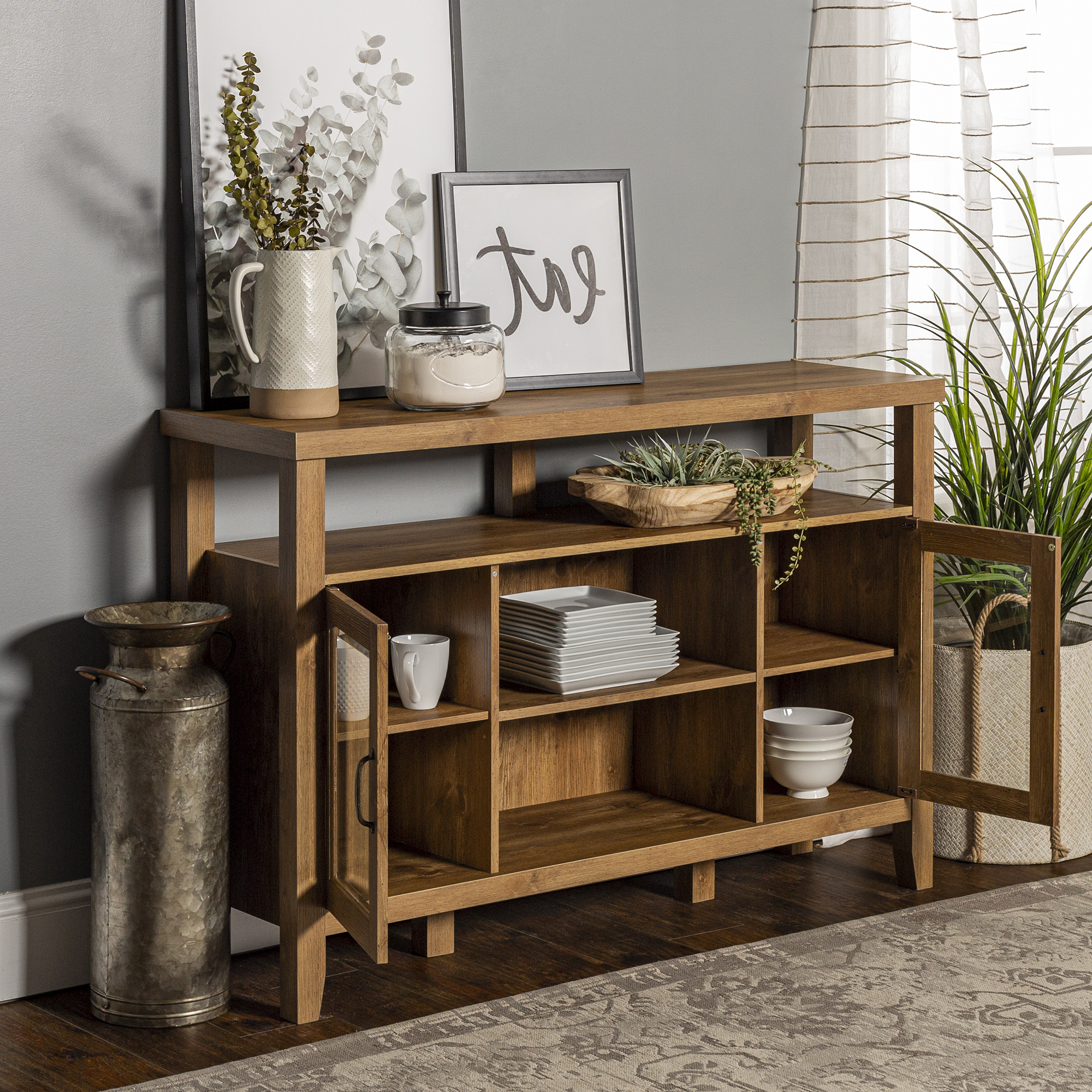 """Trendy Farmhouse Barnwood Tall Tv Stand For Tvs Up To 58"""" In Josie Tv Stands For Tvs Up To 58"""" (View 14 of 20)"""