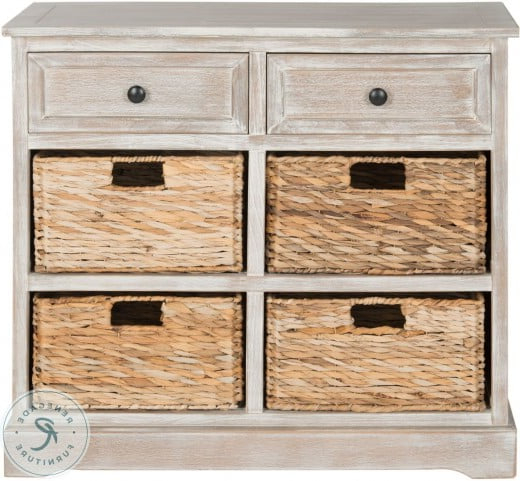 """Trendy Herman White Wash Storage Server With Wicker Baskets From Throughout Yukon 58"""" Wide 2 Drawer Pine Wood Sideboards (View 16 of 20)"""