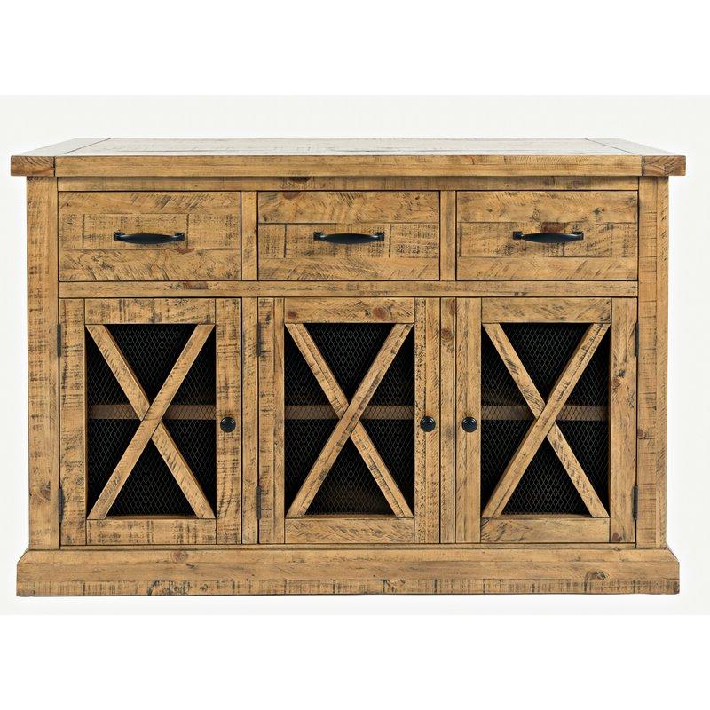 """Trendy Loon Peak® Thame 52"""" Wide 3 Drawer Pine Wood Sideboard Regarding Millstadt 52"""" Wide 3 Drawer Pine Wood Buffet Tables (View 5 of 20)"""