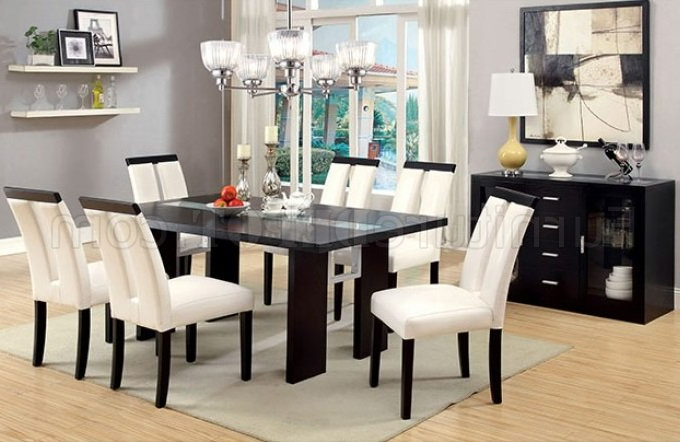 Trendy Luminar Cm3559t Dining Table W/led Lights In Black W/options For Bartolomeus (View 3 of 6)