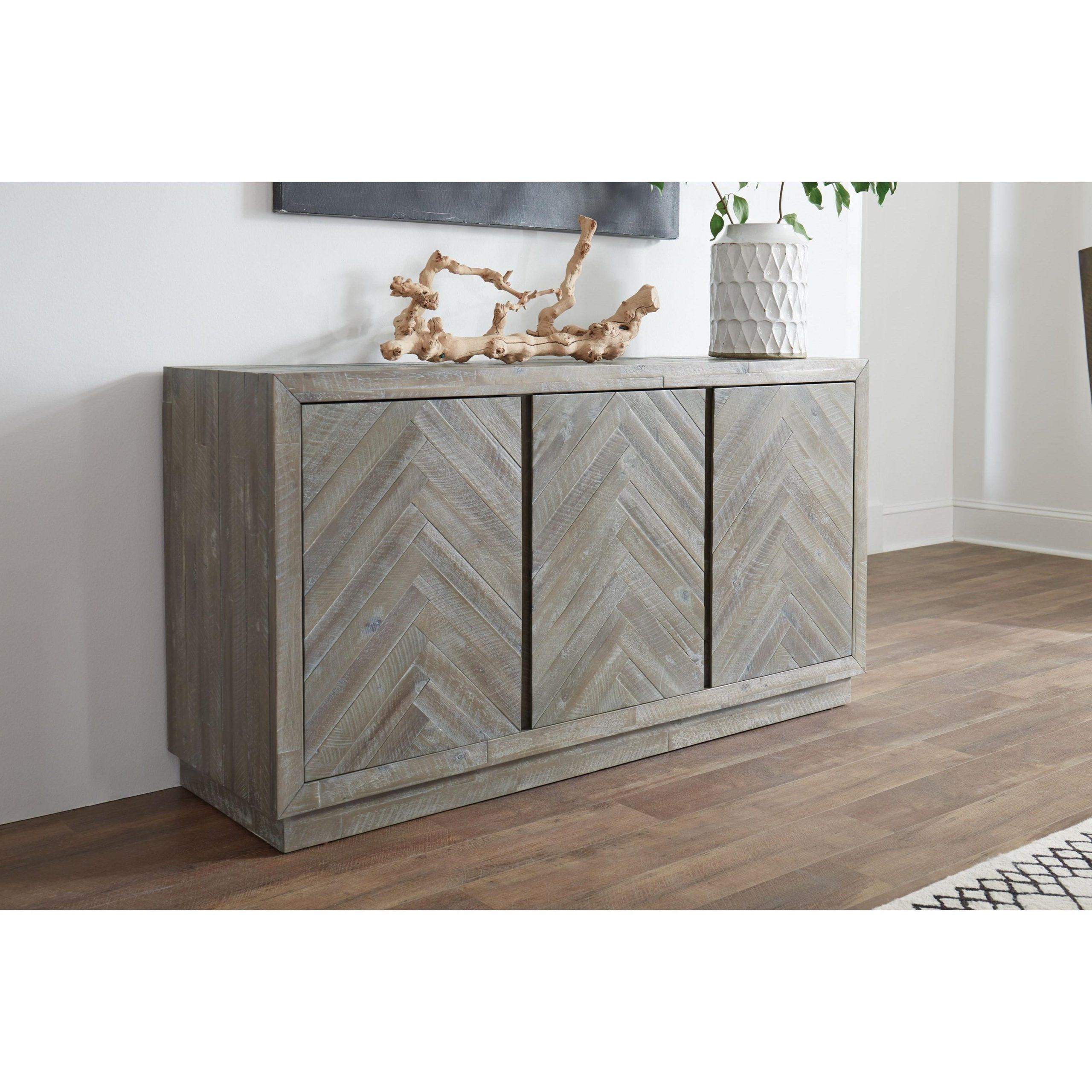"Trendy Modus International Herringbone Contemporary Sideboard Throughout Herringbone 48"" Wide Buffet Tables (View 4 of 20)"