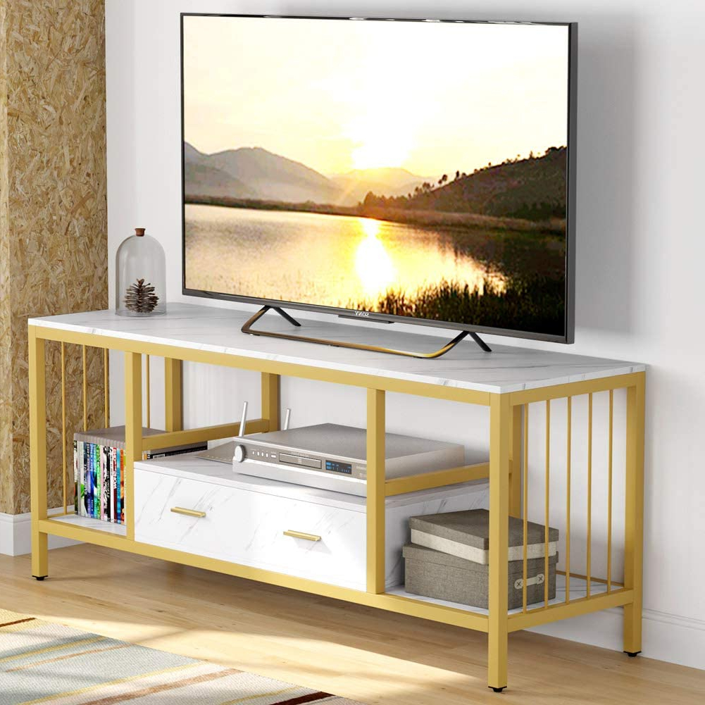 """Tribesigns 55"""" Tv Stand, Gold Faux Marble Veneer Tv Stand Inside Current Miah Tv Stands For Tvs Up To 60"""" (View 14 of 20)"""