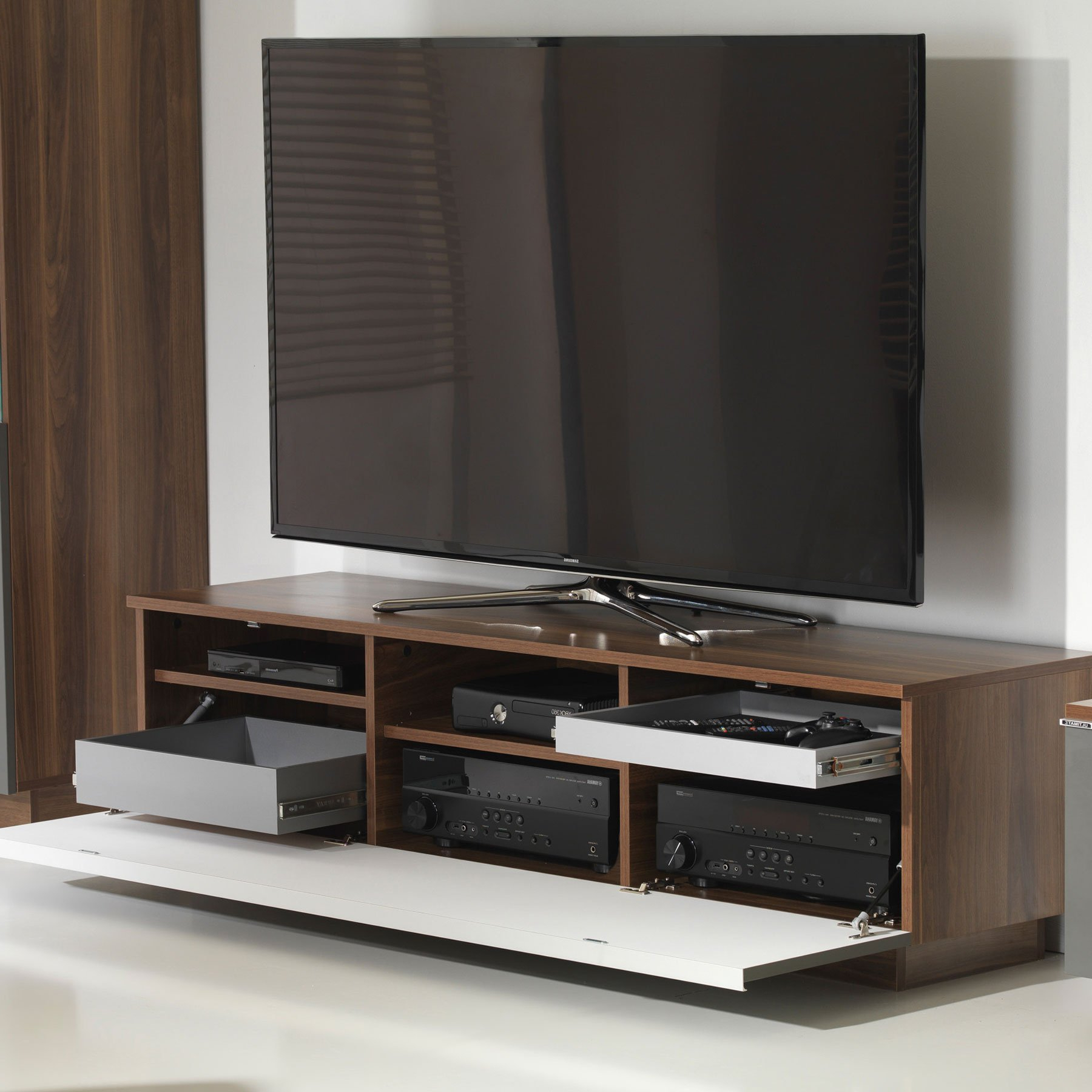 """Uk Cf Fusion 160cm Walnut And Grey Tv Stand For Up To 70"""" Tvs With Newest Lorraine Tv Stands For Tvs Up To 70"""" (View 10 of 20)"""