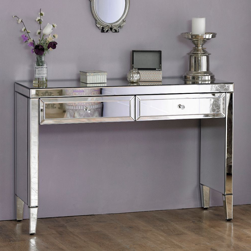 Valencia Mirrored Silver Wood 2 Drawer Sideboard Bedroom In Most Recently Released (View 18 of 20)