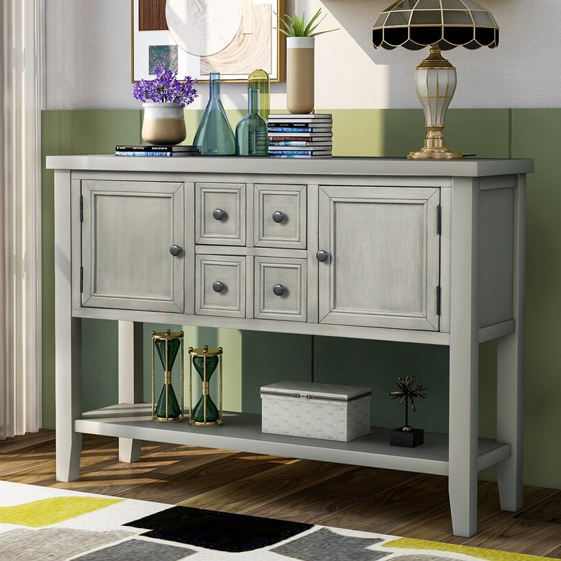 """Voight 46"""" Wide 4 Drawer Acacia Wood Drawer Servers In Fashionable Highland Dunes Oshields 46'' Wide 4 Drawer Acacia Wood (View 16 of 20)"""