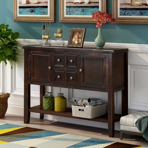 """Voight 46"""" Wide 4 Drawer Acacia Wood Drawer Servers In Well Known Highland Dunes Voight 46"""" Wide 4 Drawer Acacia Wood Server (View 20 of 20)"""