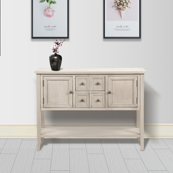 """Voight 46"""" Wide 4 Drawer Acacia Wood Drawer Servers With Regard To Widely Used Highland Dunes Oshields 46'' Wide 4 Drawer Acacia Wood (View 14 of 20)"""