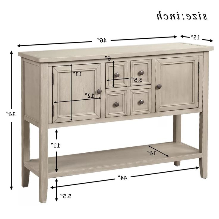 """Voight 46"""" Wide 4 Drawer Acacia Wood Server In (View 13 of 20)"""