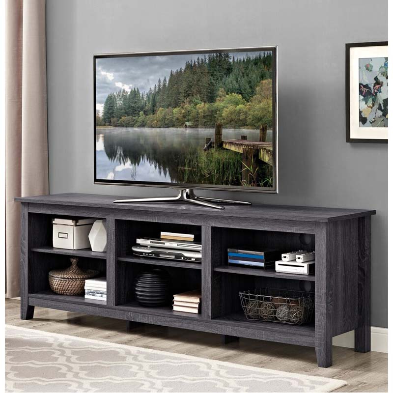 """Walker Edison Essentials 70 Inch Tv Stand (charcoal) W70cspcl Inside Favorite Mainor Tv Stands For Tvs Up To 70"""" (View 11 of 20)"""