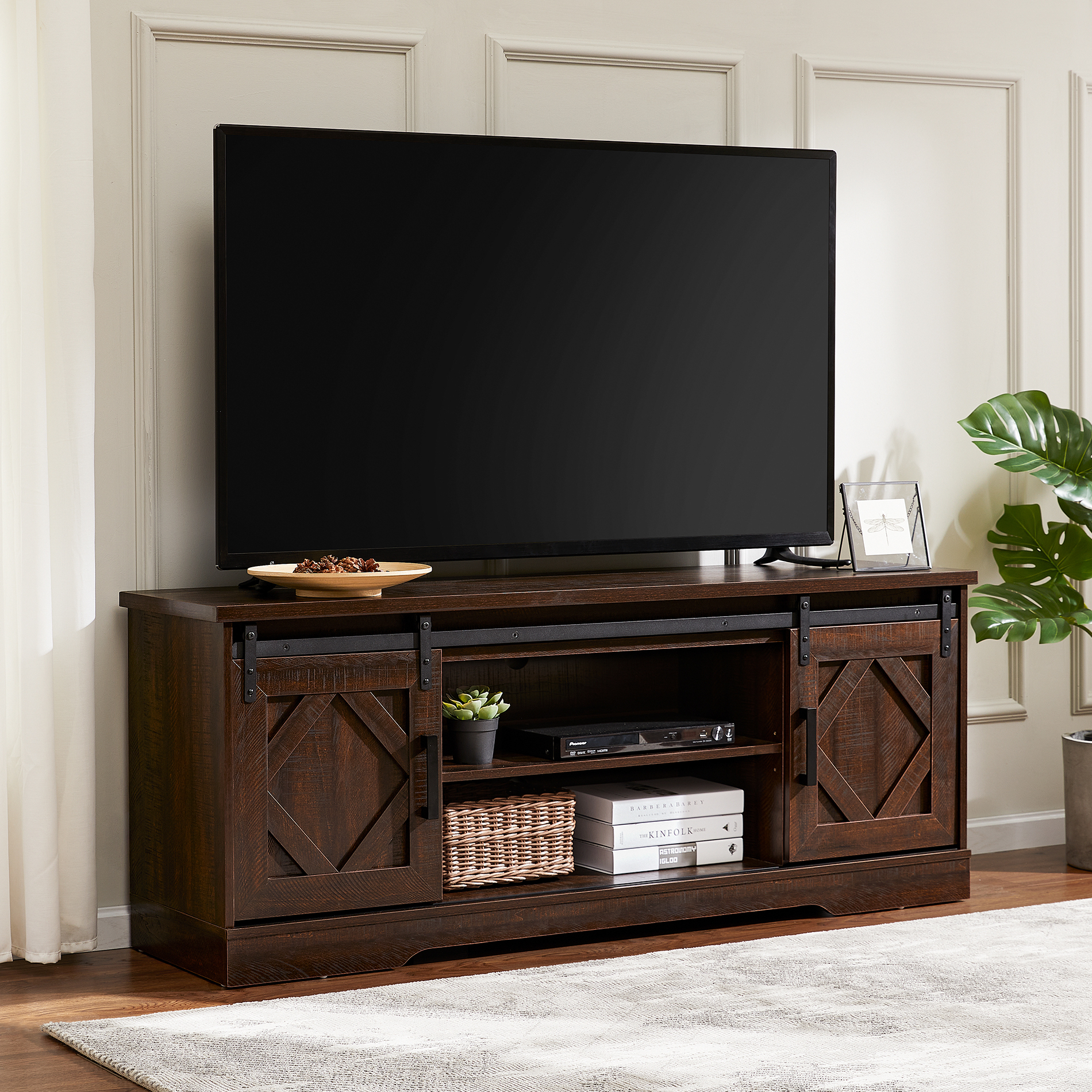 """Wampat Sliding Barn Door Tv Stand For 70 Inch Flat Screen Pertaining To Trendy Lorraine Tv Stands For Tvs Up To 70"""" (View 16 of 20)"""