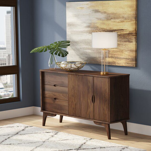 """Waterbury 58"""" Wide 3 Drawer Rubberwood Sideboard In Best And Newest Fritch 58"""" Wide Sideboards (View 13 of 20)"""