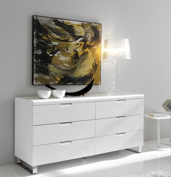 """Well Known Alamo, Modern Sideboard Or Chest Of Drawers In White High With Blade 55"""" Wide Sideboards (View 16 of 20)"""