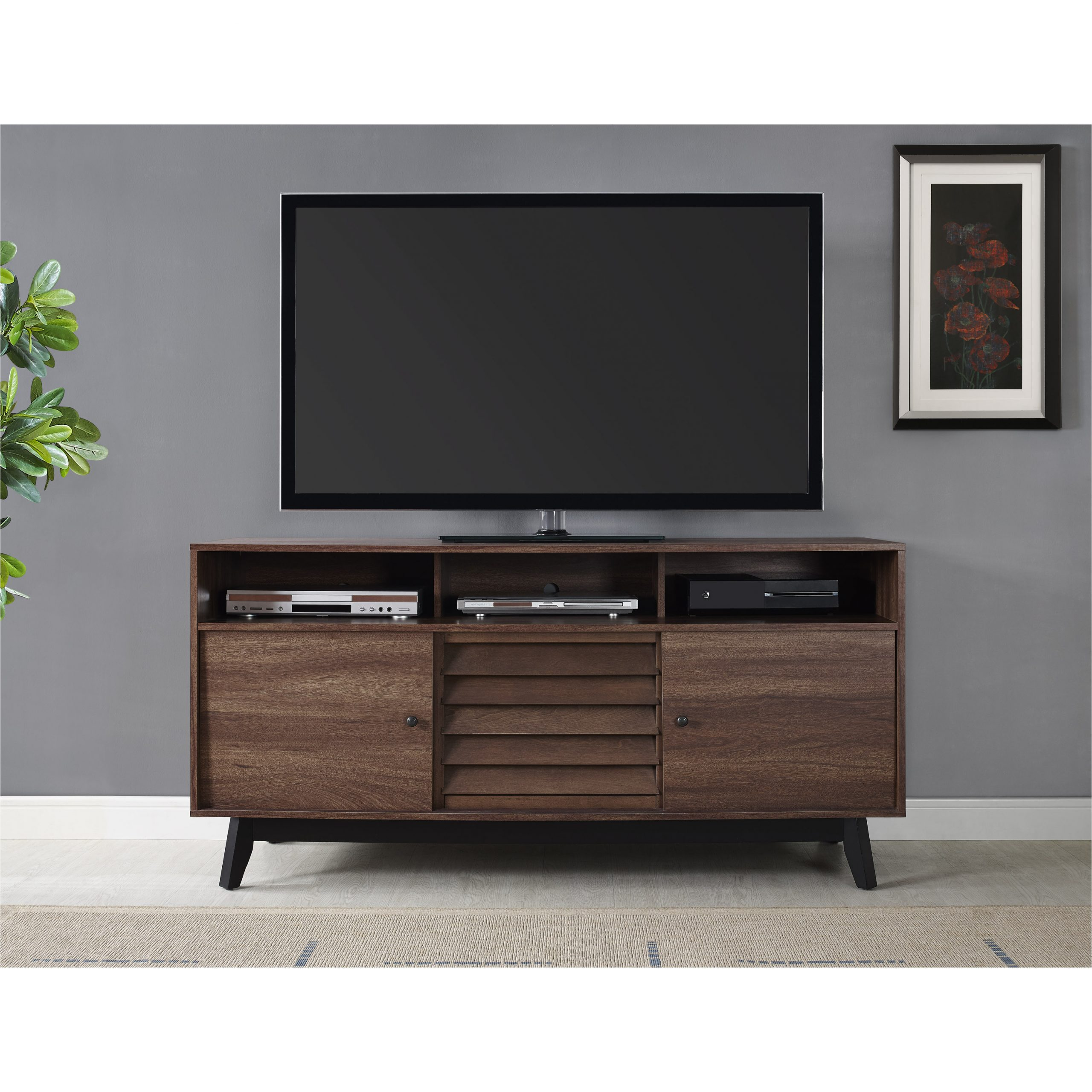 """Well Known Dorel Home Products Dorel Vaughn Tv Stand (60"""") Grey Oak With Miah Tv Stands For Tvs Up To 60"""" (View 8 of 20)"""