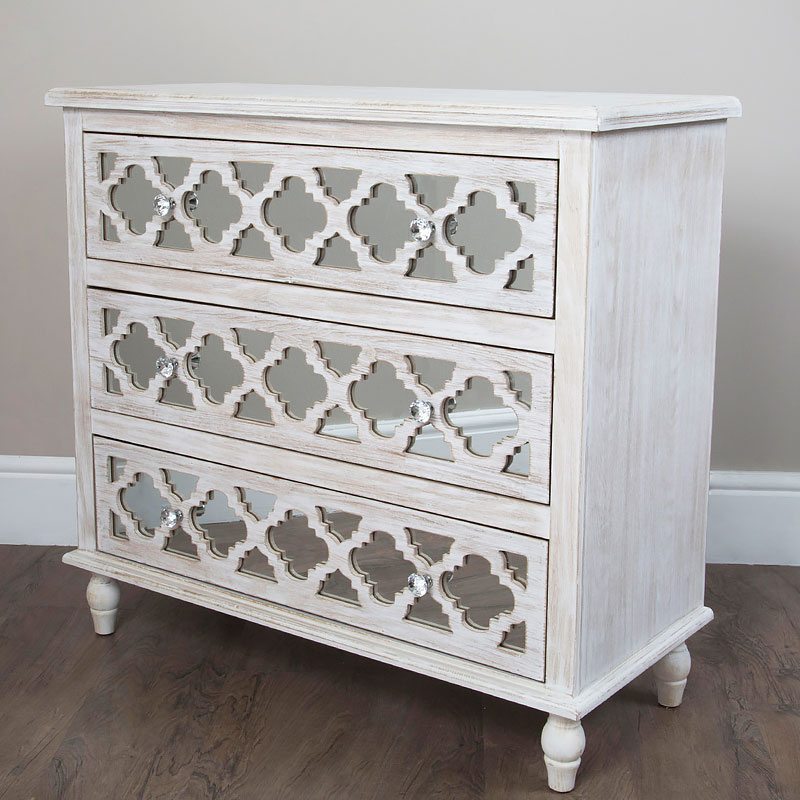 """Well Known Hampton Mirrored 3 Drawer Chest Of Drawers Sideboard Throughout Ismay 56"""" Wide 3 Drawer Sideboards (View 13 of 20)"""