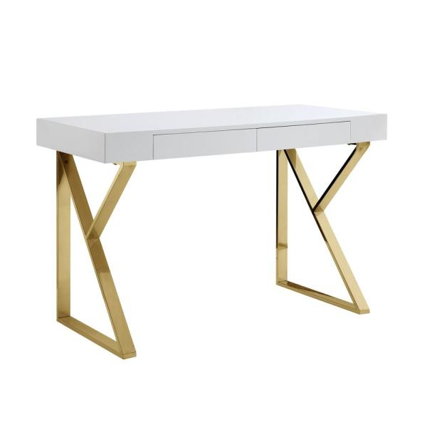 Well Known Inspired Home Biaochi White/gold Desk With 2 Drawers Dk151 In Follett (View 3 of 20)