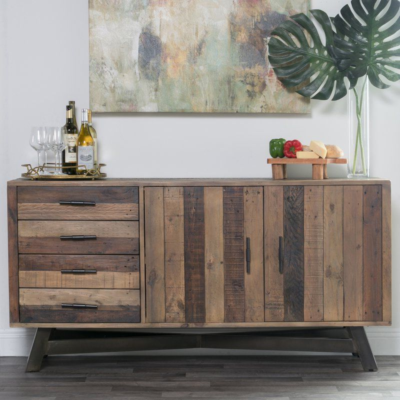 """Well Known Lapish 65"""" Wide 4 Drawer Pine Wood Buffet Table For Reece 79"""" Wide Sideboards (View 6 of 20)"""