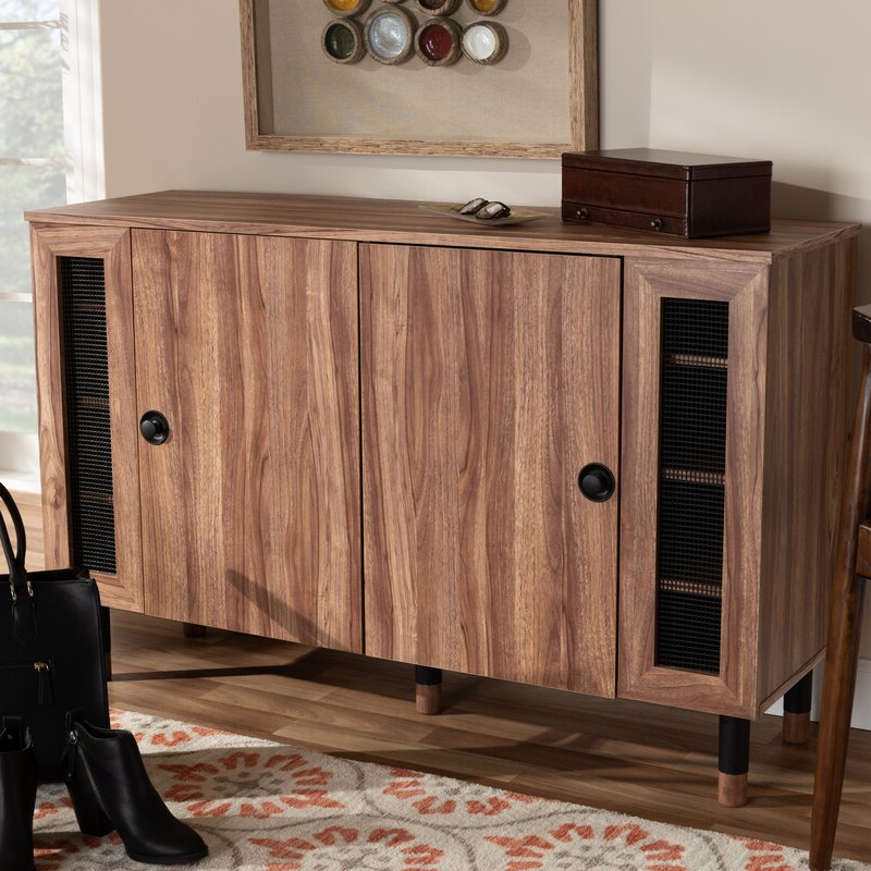 Well Known Millwood Pines Modern And Contemporary 2 Door Wood Regarding Millwood Pines Floor Storage Cabinet With 2 Doors And 2 Open Shelves (View 12 of 20)