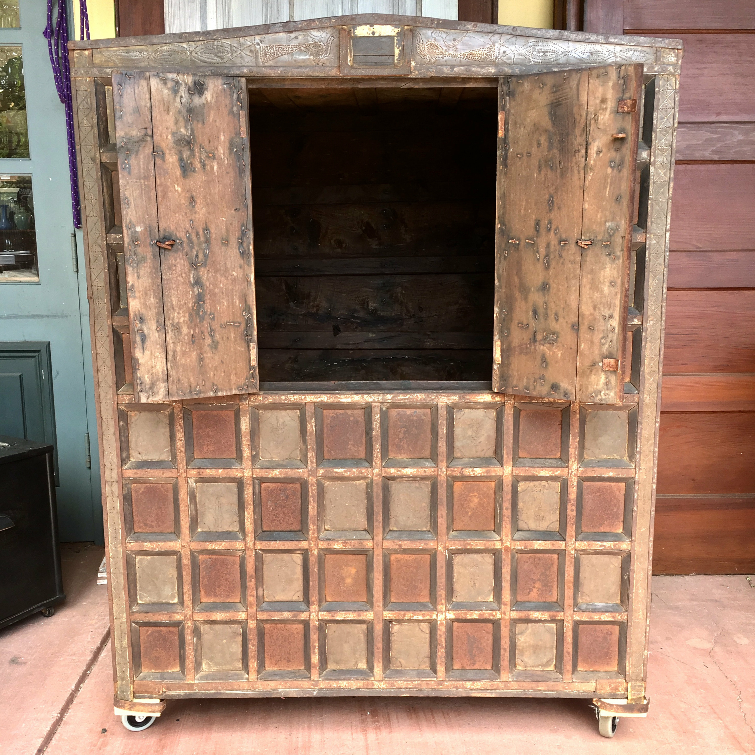 """Well Known Nazarene 40"""" H X 52"""" W Standard Bookcase Throughout Balinese Cabinet W/ Stippled Copper Accents (View 5 of 20)"""