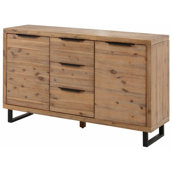 """Well Known Shop Scandinavian Living Viby Distressed Brushed Acacia Regarding Fahey 58"""" Wide 3 Drawer Acacia Wood Sideboards (View 11 of 20)"""
