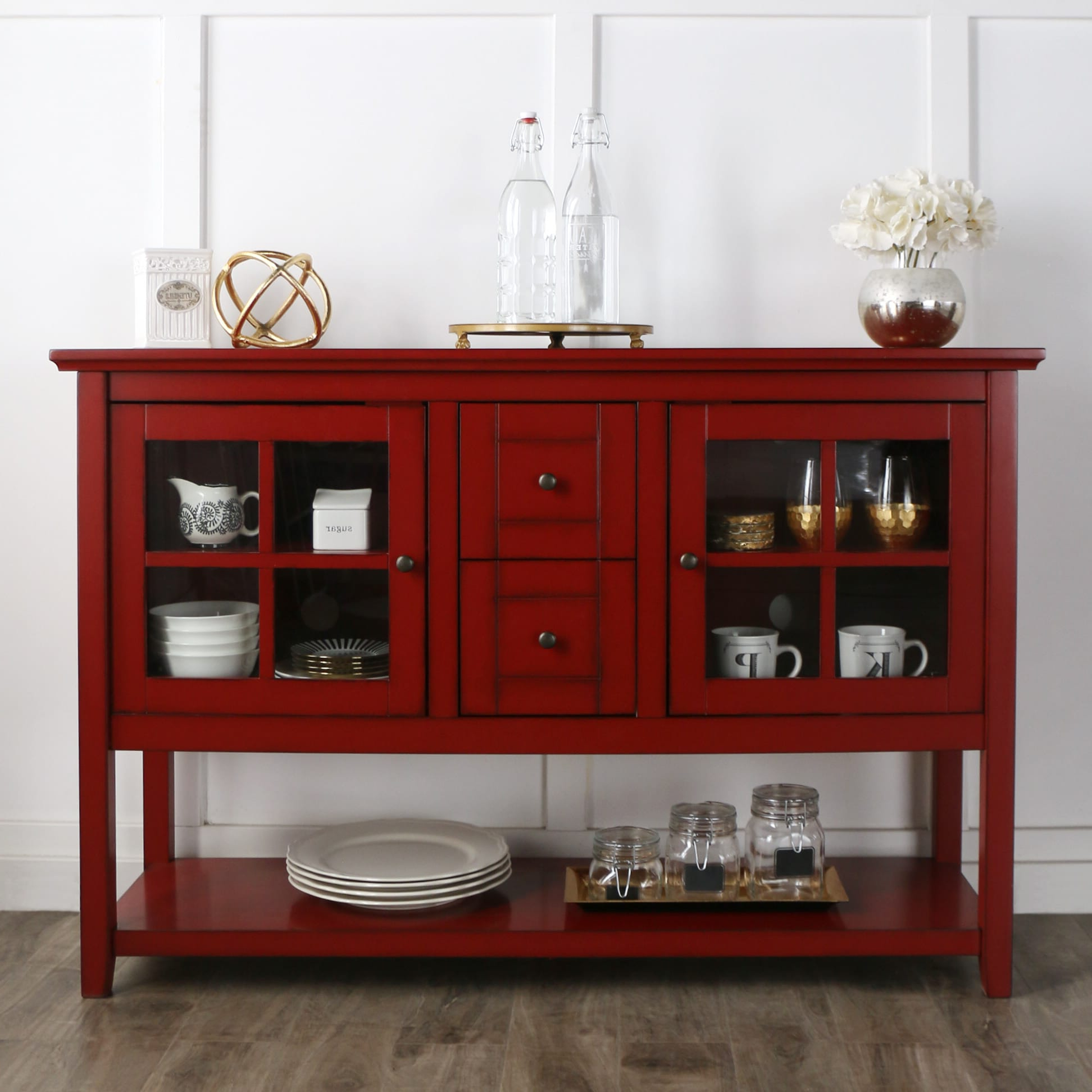 """Well Known Slattery 52"""" Wide 2 Drawer Buffet Tables Regarding Buffet 52 Inch Tv Console Table – Antique Redwalker Edison (View 18 of 20)"""