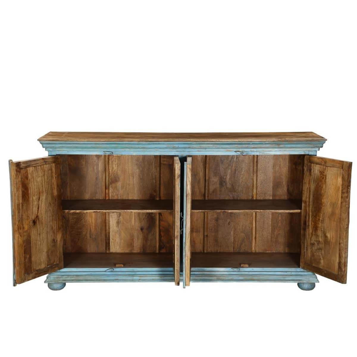 """Well Known Strock 70"""" Wide Mango Wood Sideboards For Sky Blue Starburst Mango Wood 70"""" Sideboard Cabinet (View 5 of 20)"""