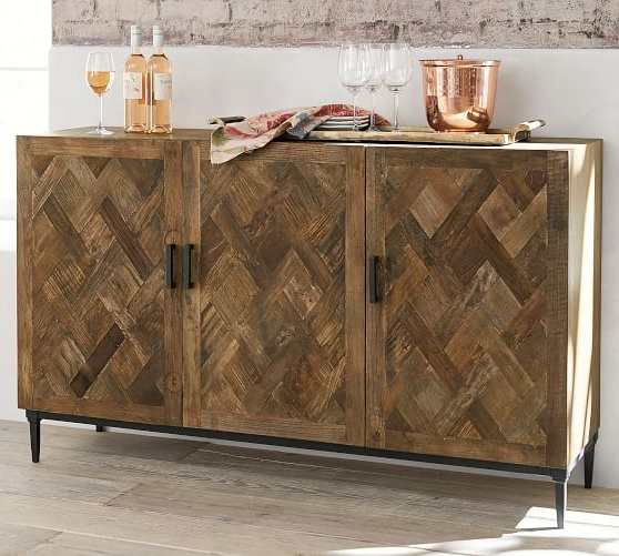 """Well Known Zinaida 59"""" Wide Mango Wood Buffet Tables Inside Parquet Reclaimed Wood Buffet (View 14 of 20)"""