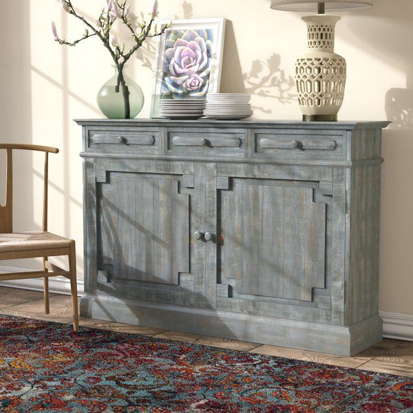 """Well Liked Adelbert 55"""" Wide 3 Drawer Pine Wood Sideboard In 2020 Regarding Searsport 48"""" Wide 4 Drawer Buffet Tables (View 15 of 20)"""