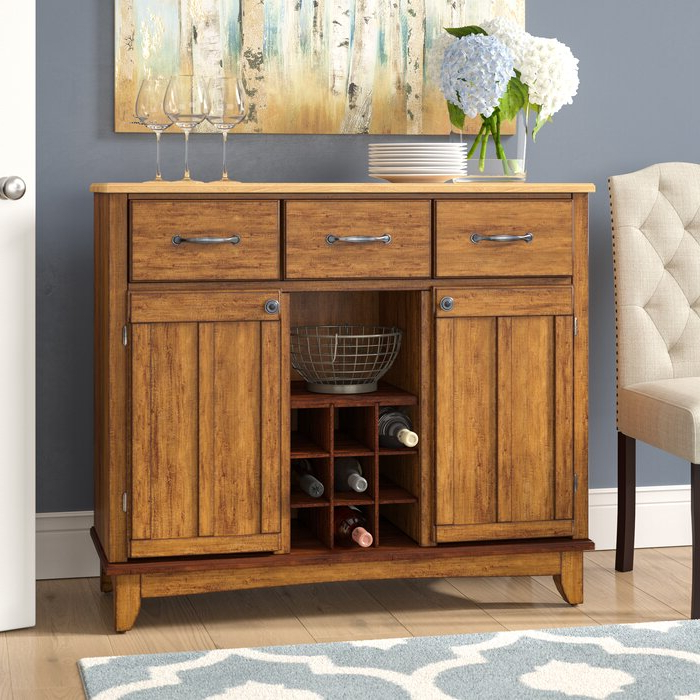 """Well Liked Andover Mills™ Presswood 41.75"""" Wide 3 Drawer Oak Wood Within Presswood Traditional (View 15 of 20)"""