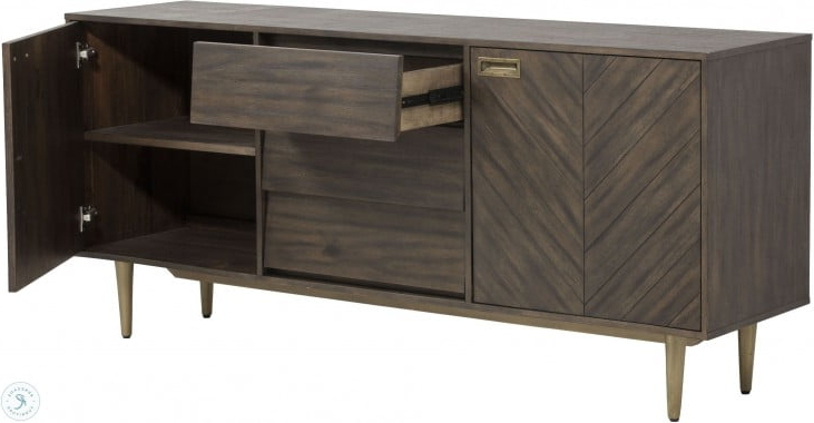 """Well Liked Fahey 58"""" Wide 3 Drawer Acacia Wood Sideboards Within Zenn Greyson Antique Brass Sideboard From Sunpan (View 8 of 20)"""