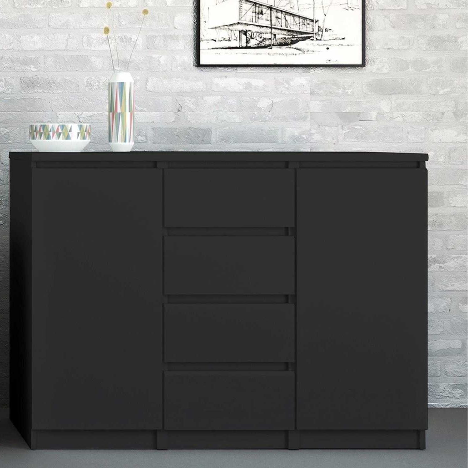 """Well Liked Modern Matt Black Painted 4 Drawer 2 Door Sideboard 120cm Wide With Regard To Daisi 50"""" Wide 2 Drawer Sideboards (View 3 of 20)"""