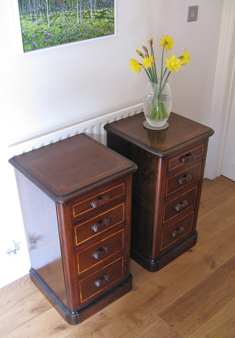 """Well Liked Pair Of Late 19thc Walnut & Inlaid Bedside Chests Of Regarding Ogden 59"""" Sideboards (View 2 of 20)"""