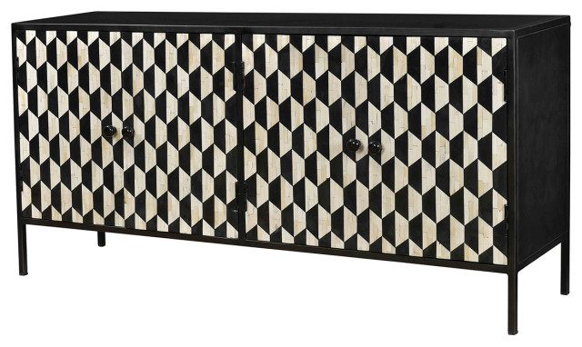 Well Liked Raybon Buffet Tables Intended For Savitri Black & White Bone Inlay Sideboard Cabinet (View 11 of 20)