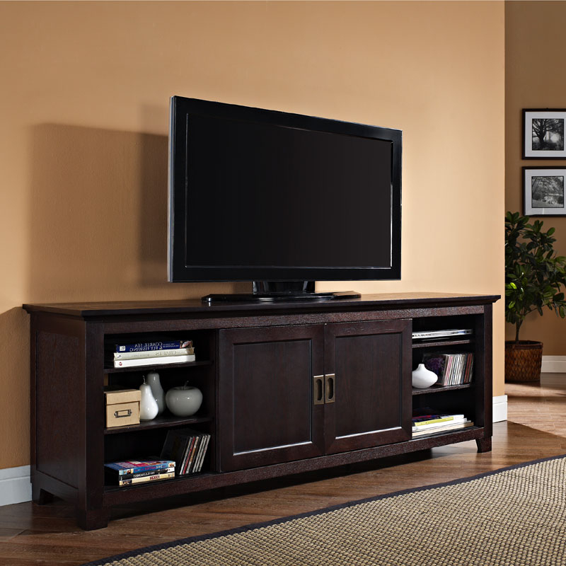 """Well Liked Walker Edison Solid Wood 70 Inch Tv Stand With Sliding Pertaining To Lorraine Tv Stands For Tvs Up To 70"""" (View 15 of 20)"""
