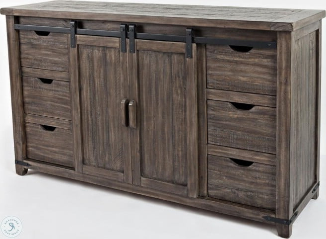 """Westhoff 70"""" Wide 6 Drawer Pine Wood Sideboards Inside Fashionable Madison County Barnwood 60"""" Barn Door Server From Jofran (View 6 of 20)"""