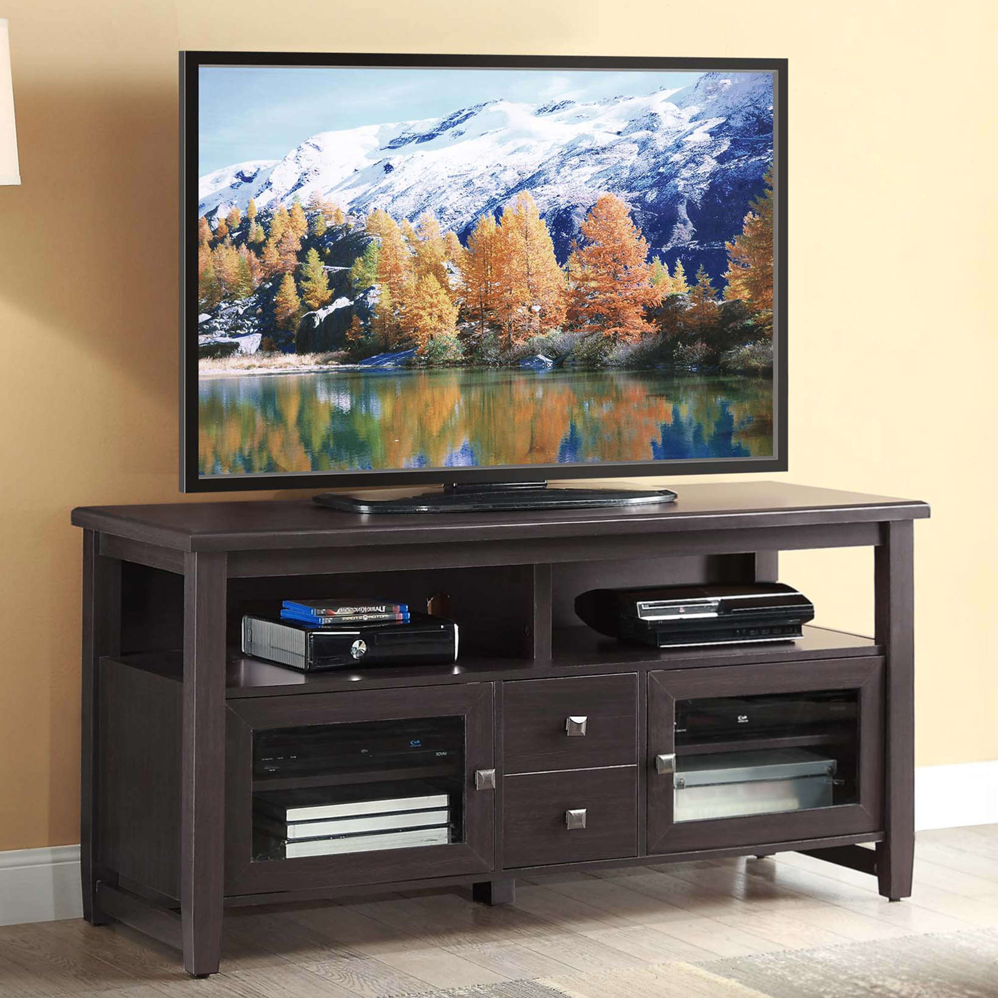 """Whalen 54"""" Tv Stand For Tvs Up To 60"""", Espresso Finish Within 2019 Miah Tv Stands For Tvs Up To 60"""" (View 11 of 20)"""