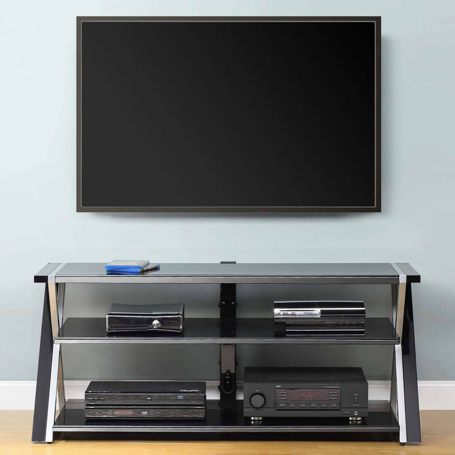 """Whalen Black Tv Stand For 65"""" Flat Panel Tvs With Tempered With Regard To Most Recently Released Dallas Tv Stands For Tvs Up To 65"""" (View 13 of 20)"""