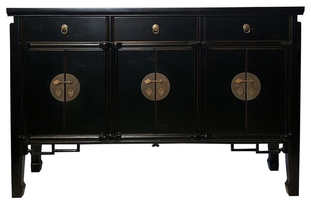 """Widely Used Asian Six Door Buffet With Key Carving, Black Lacquer For Westhoff 60"""" Wide 6 Drawer Pine Wood Credenzas (View 7 of 20)"""