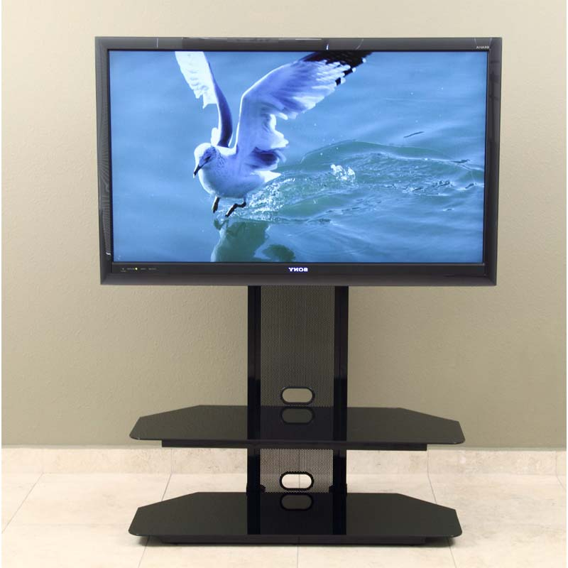 """Widely Used Khia Tv Stands For Tvs Up To 60"""" Pertaining To Transdeco Black Glass Tv Stand With Integrated Flat Panel (View 20 of 20)"""