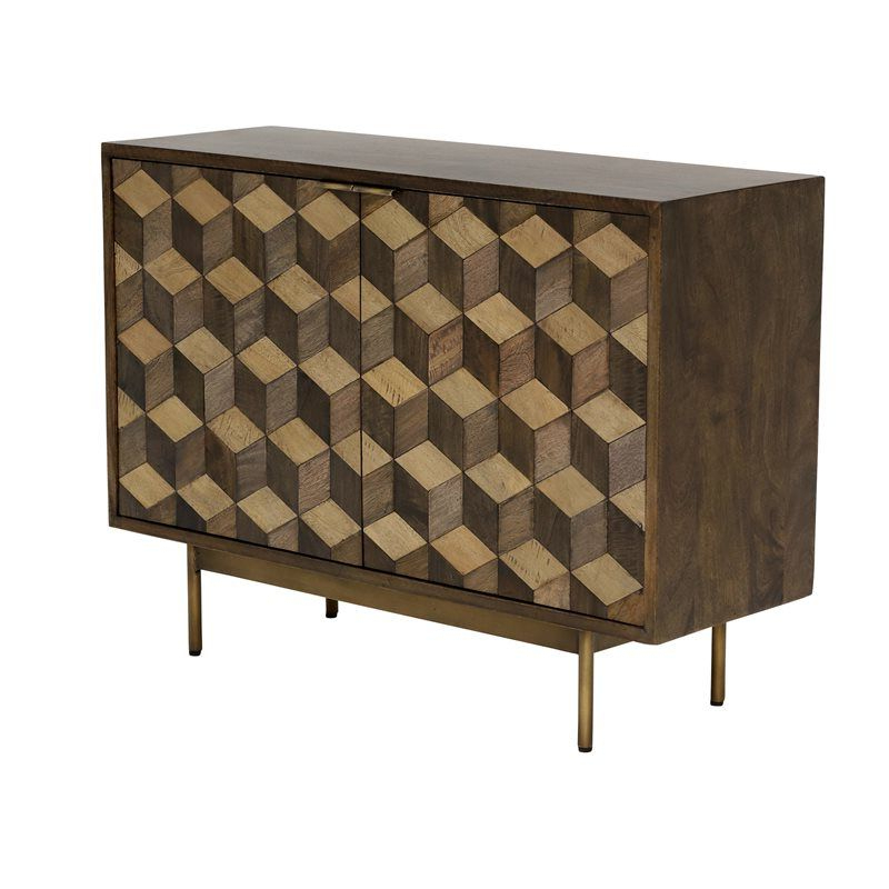 """Widely Used Macdonald 36"""" Wide Mango Wood Buffet Tables Throughout Facet 2 Door Sideboard, Mango Wood & Brass – Barker (View 20 of 20)"""