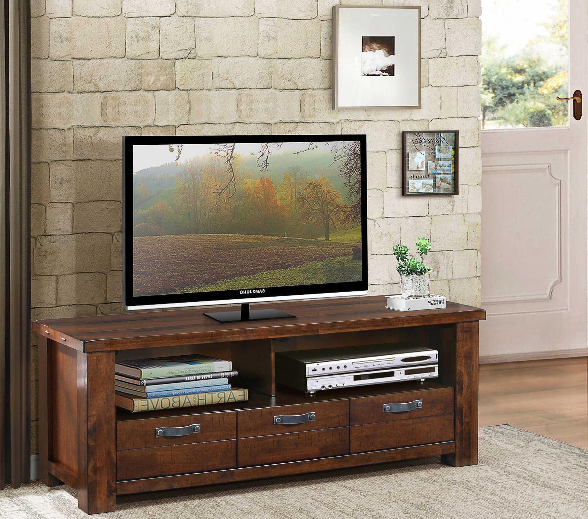 """Widely Used Santos Natural Brown 58"""" Tv Stand From Homelegance Regarding Jace Tv Stands For Tvs Up To 58"""" (View 13 of 20)"""