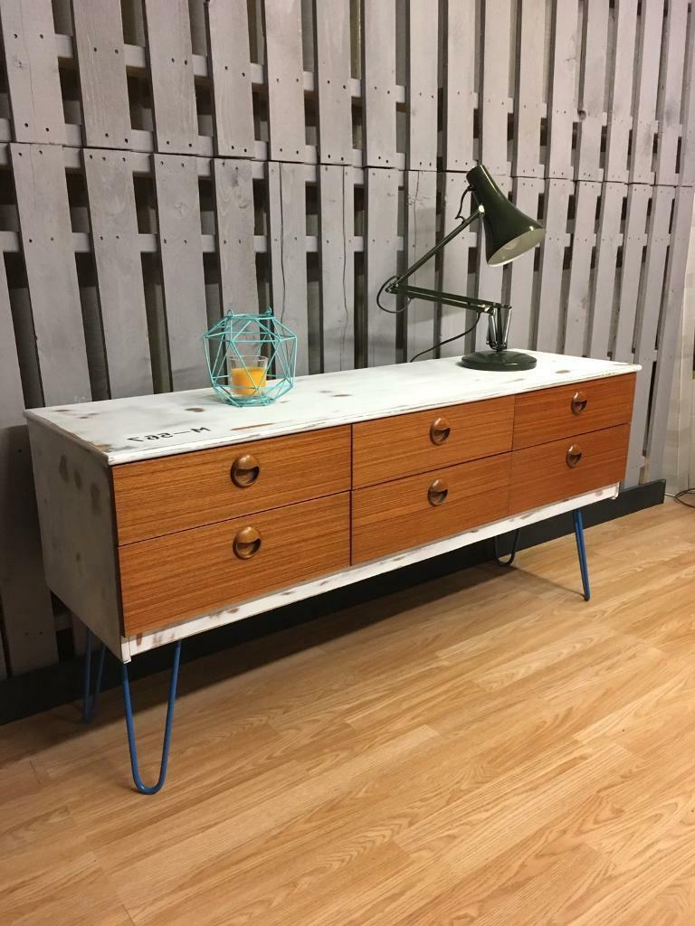 """Widely Used Thame 70"""" Wide 4 Drawers Pine Wood Sideboards Throughout Industrial Look Chic Sideboard Teak Hairpin Legs (View 9 of 20)"""