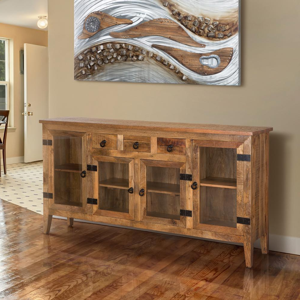 Wood Accent Sideboards Buffet Serving Storage Cabinet With 4 Framed Glass Doors Intended For Well Liked Yosemite Home Decor Natural Wood Storage Cabinet Yfur (View 15 of 20)